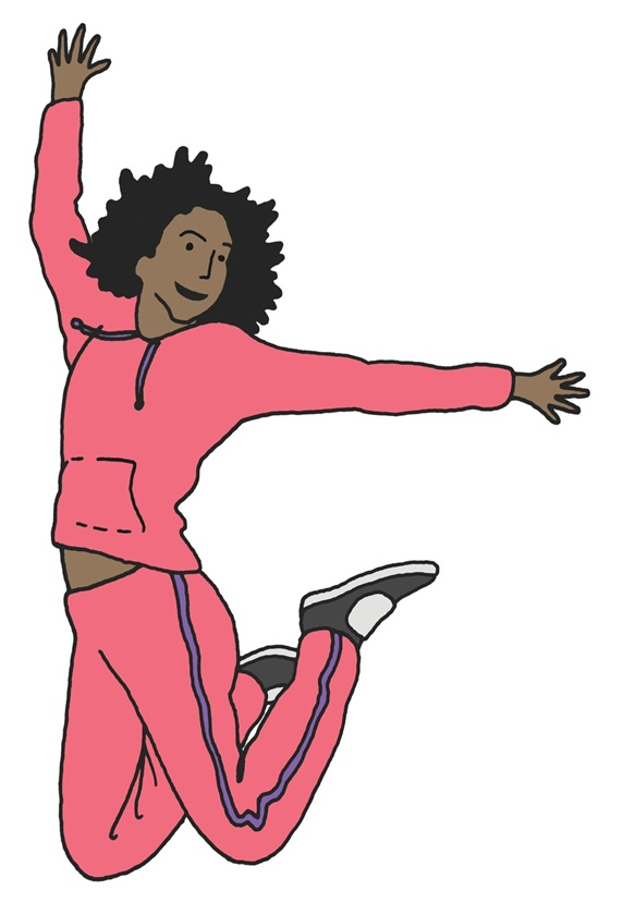 Woman in track suit jumping