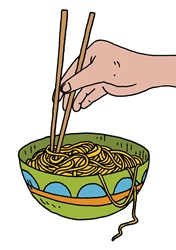 Bowl of pasta with human hand and chop sticks