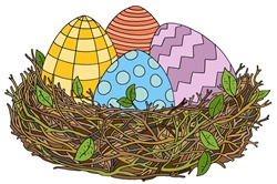 Easter eggs in bird's nest
