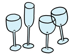 Four empty wine glasses