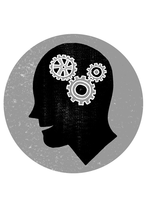 Human head in circle with gears inside
