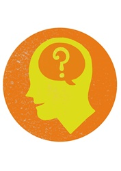 Human head in circle with comics cloud and question mark