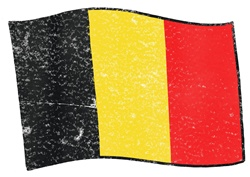 Belgium flag on white background