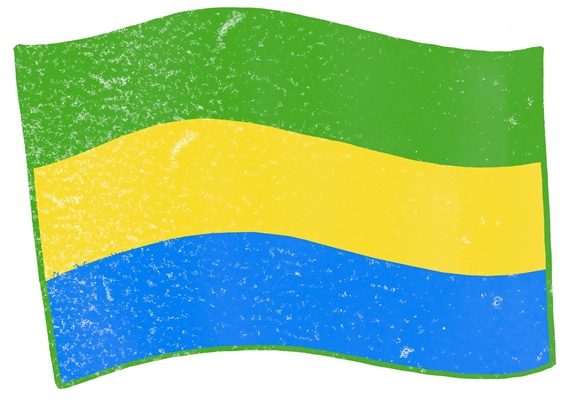 Flag of Gabon on white background