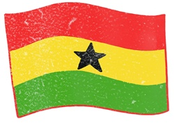 Ghana flag on white background