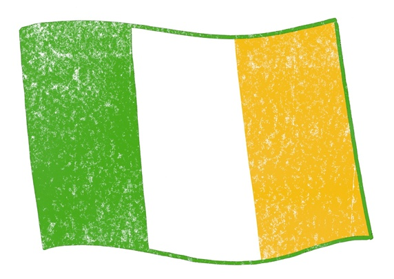 Green, white and yellow flag on white background
