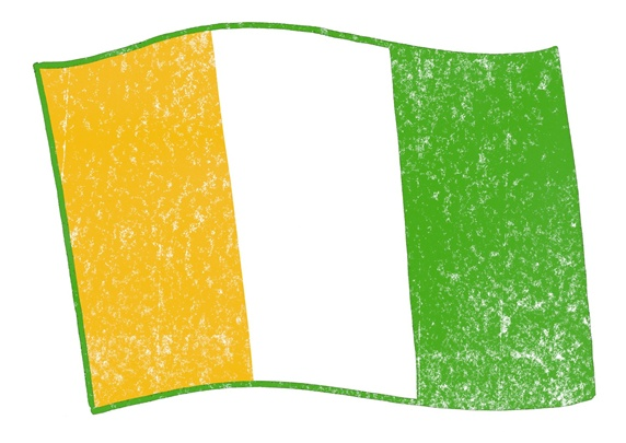 Yellow, white and green flag on white background