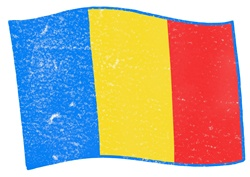 Romanian flag on white background
