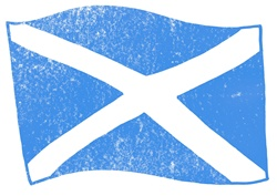 Scottish flag on white background