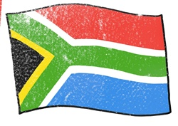 Flag of South Africa on white background