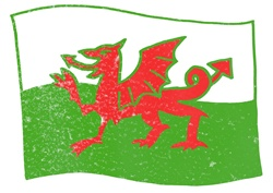 Welsh flag on white background
