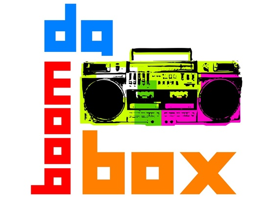80's style boom box on white