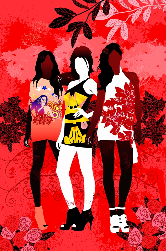 Fashionable teenage girls wearing t shirts posing in red countryside