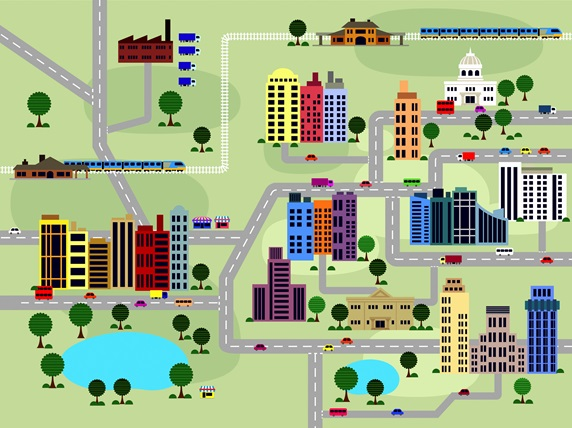 Layout of roads and buildings in city