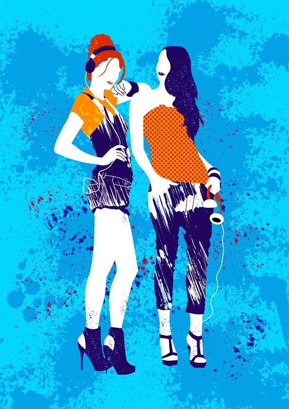 Two fashionable women on blue