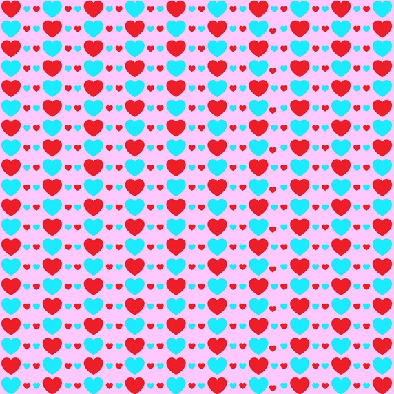 Blue and red hearts on pink background