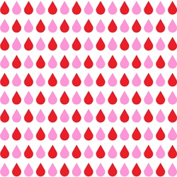 Pink and red drops on white background