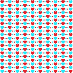 Blue and red hearts on white background