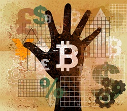 Hand choosing bitcoin from foreign currency symbols