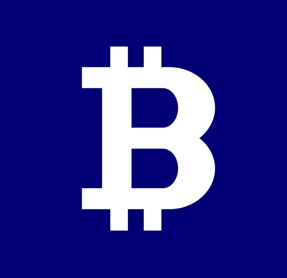 Bitcoin symbol against blue background