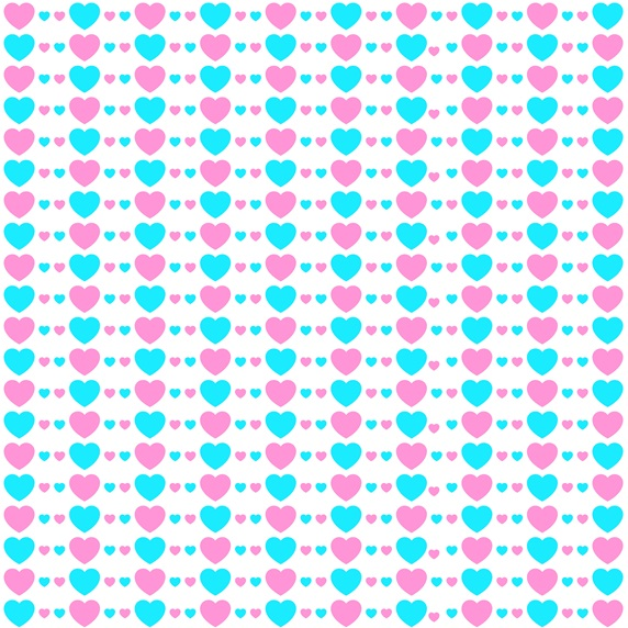 Blue and pink hearts on white background
