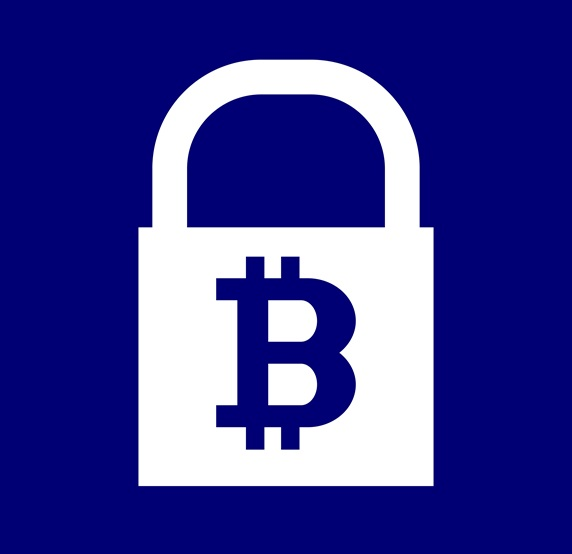 Bitcoin symbol on padlock against blue background