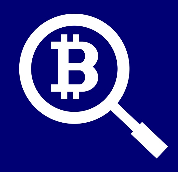 Bitcoin symbol and magnifying glass against blue background