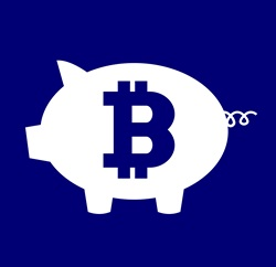 Piggy bank with Bitcoin symbol against blue background