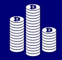 Stacks of Bitcoins against blue background