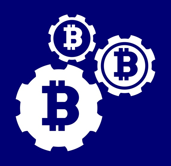 Cog wheels with Bitcoin symbols against blue background