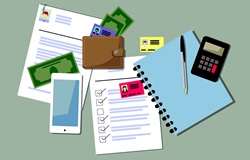 Documents, money and smart phone