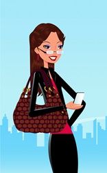 Happy woman using smart phone in city