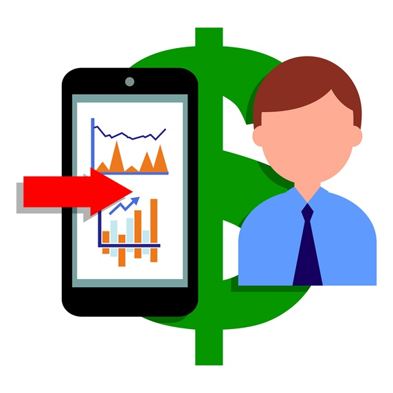 Businessman, dollar sign and smart phone with graphs