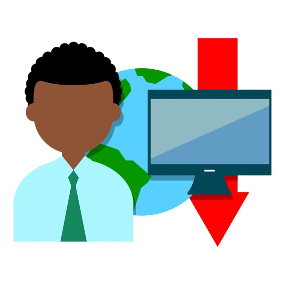 Businessman with computer monitor, planet Earth and red arrow sign