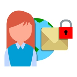 Woman with planet Earth and envelope with padlock