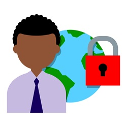 Man with planet Earth with padlock