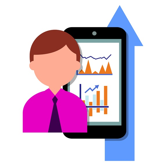Businessman with smart phone with graphs and arrow sign