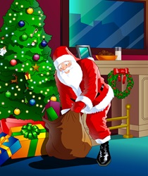 Santa Claus unloading bag in house