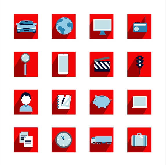 Icons representing various industries