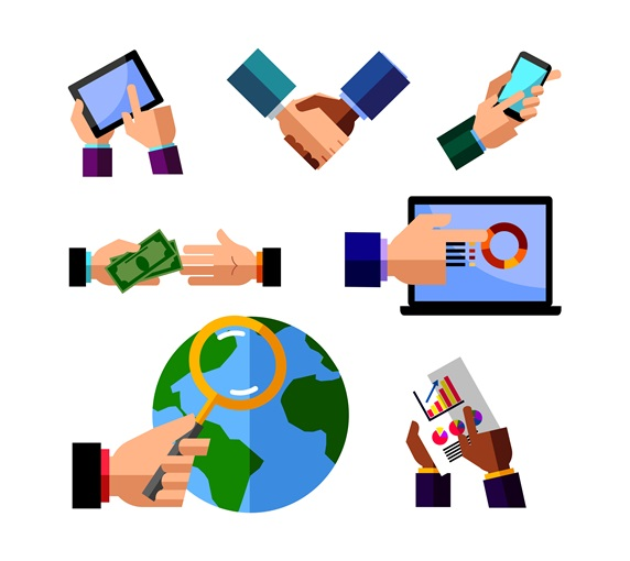 Icons representing global business and communication in modern times