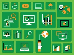 Various computer icons on green background