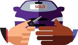 Car dealer giving key to client