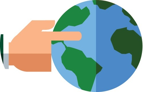 Hand pointing Earth