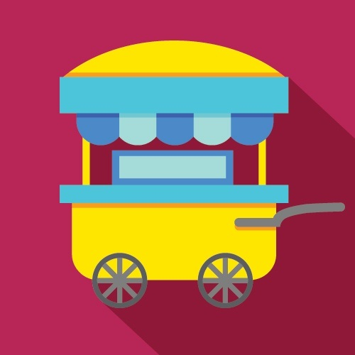 Ice cream cart on colored background