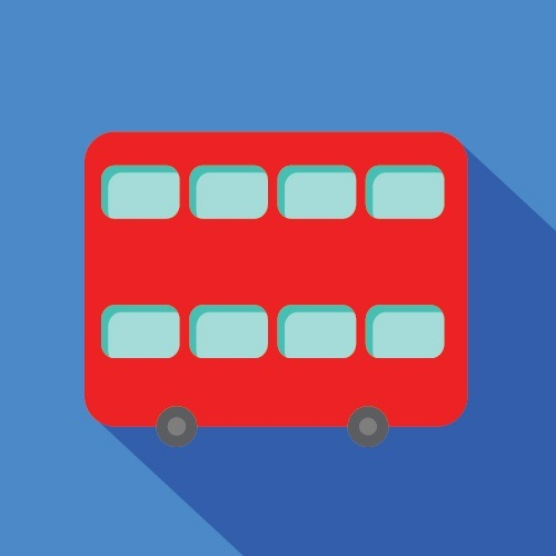 Red Double decker bus on blue background