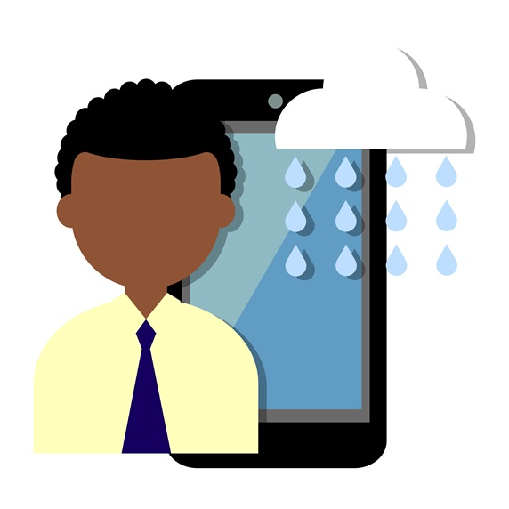 Man with smartphone and rain from cloud