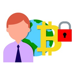 Man with planet Earth and bitcoin symbol with padlock