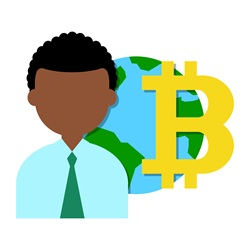 Man with planet Earth and bitcoin symbol