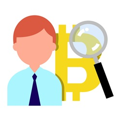 Man with bitcoin symbol and magnifying glass
