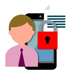 Man and smart phone with document and padlock